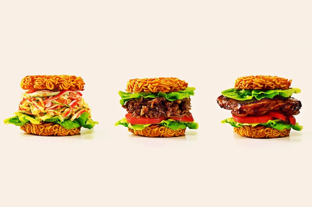 image of three burgers with ramen buns next to one another
