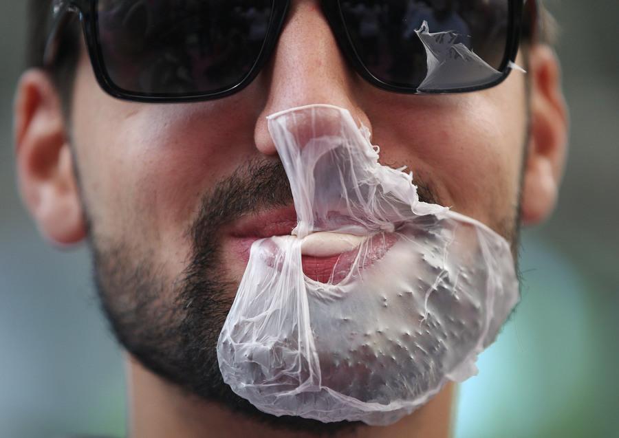 gum on beard