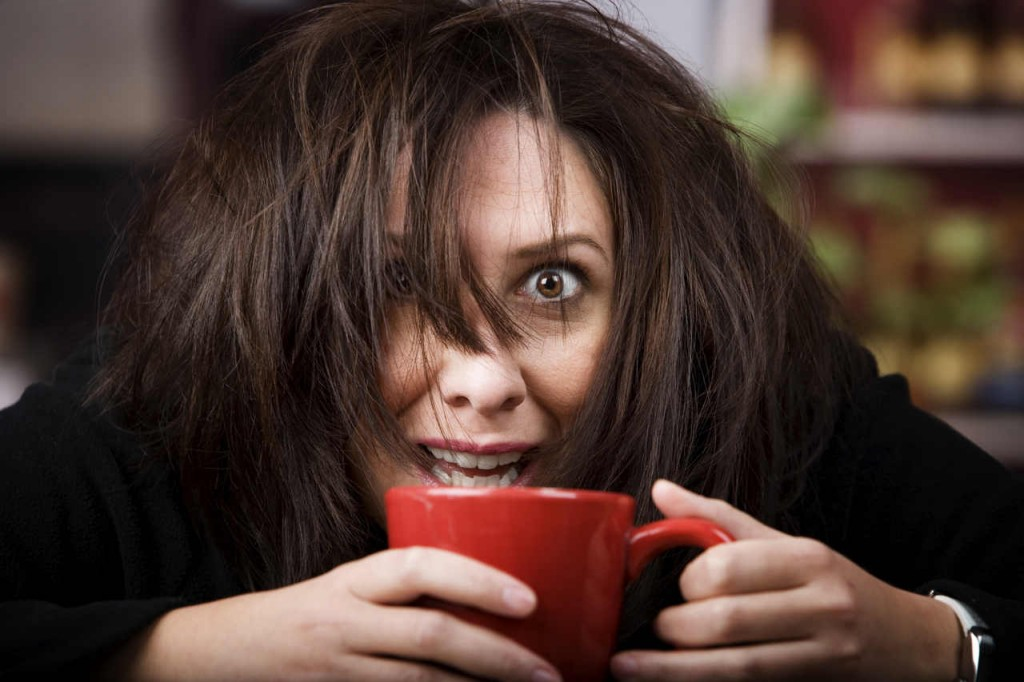 woman tripping out on coffee