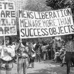 Image of men marching in 1972 men's liberation movement