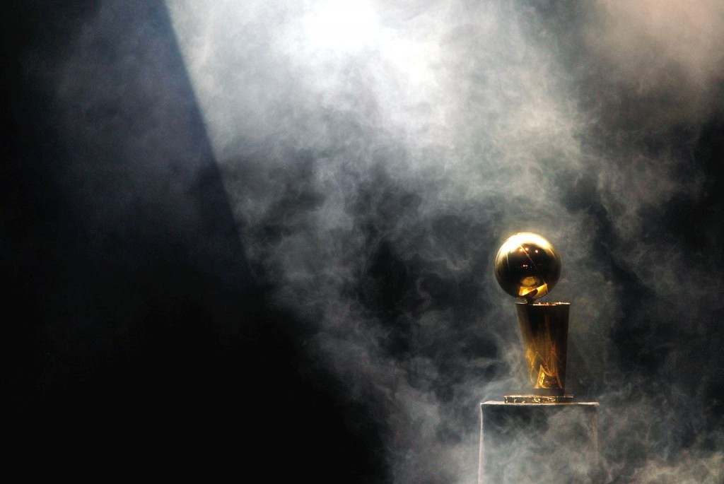 Larry O'Brien trophy on black background