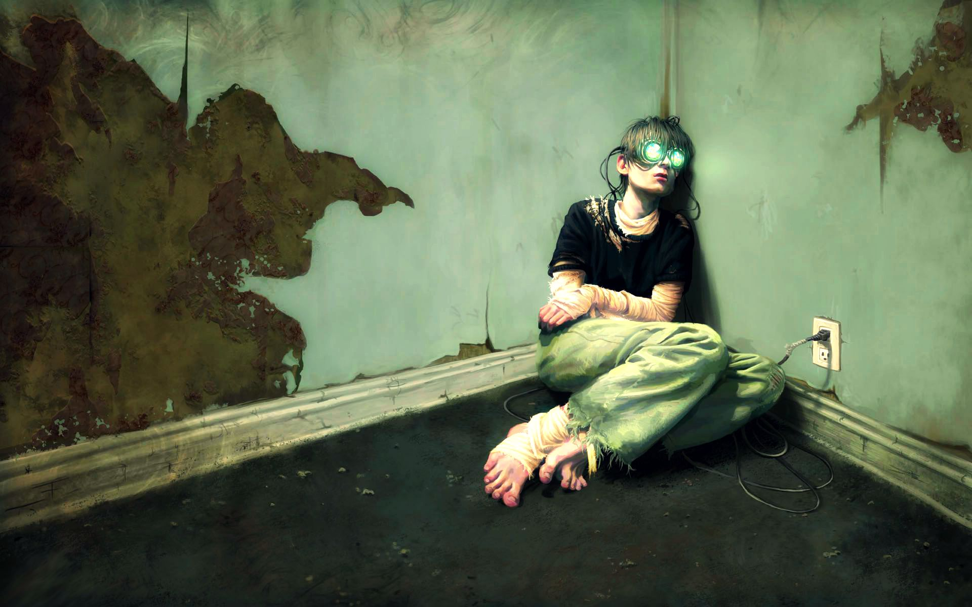 Boy With Virtual Reality Goggles On Face Sitting Alone In Room