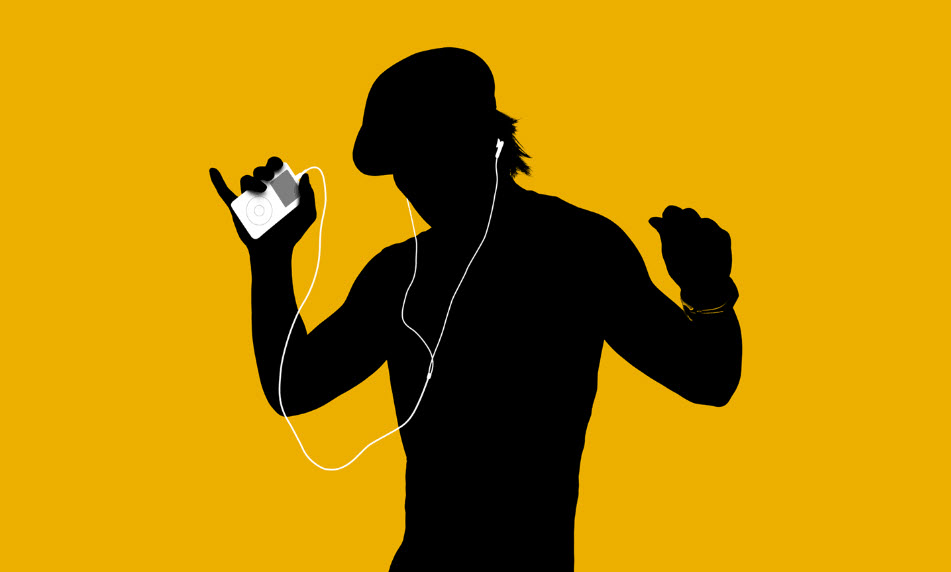 black silhouette of man on yellow background listening to music