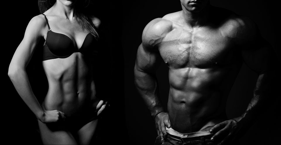 male and female muscled torsos posing on a black background