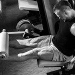 Fitness, bodybuilding Powerful man during workout